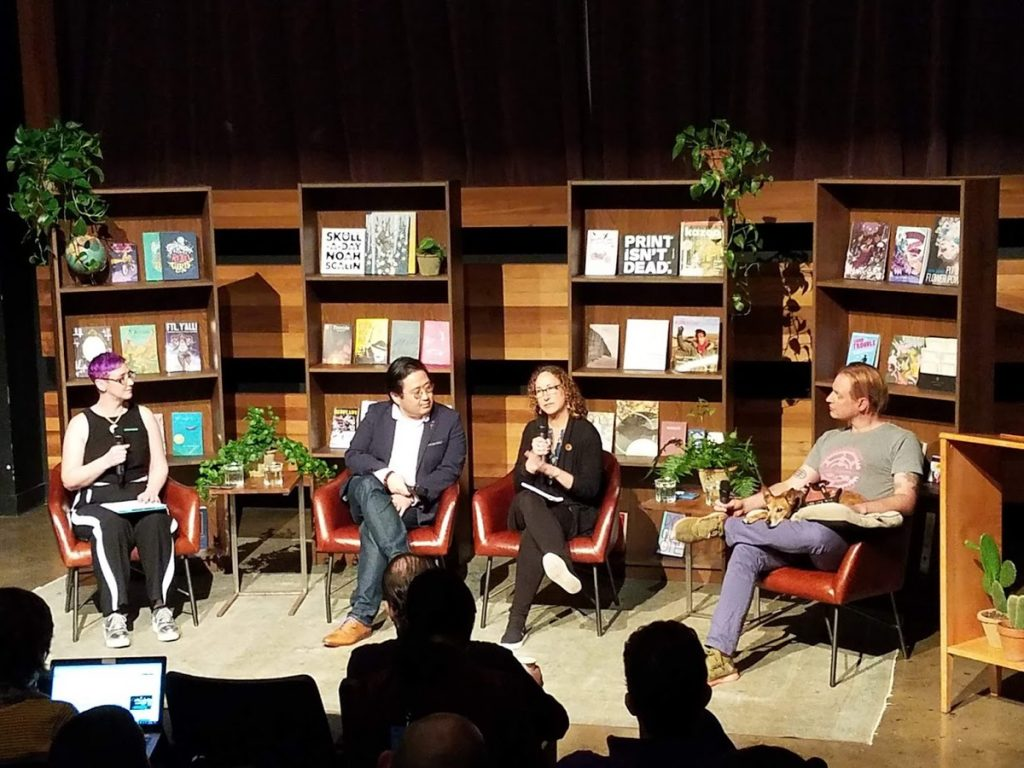 From left to right: Margot Atwell, Dongwon Song, Amy Stolls, Joe Biel, and Ruby sit on panel 'Paying the Way: Economic Sustainability in Publishing.'